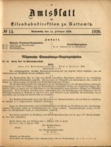 Amtsblatt der Königlichen Eisenbahndirektion zu Kattowitz, 1920, nr14