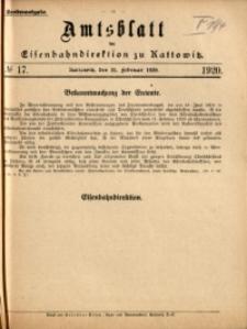 Amtsblatt der Königlichen Eisenbahndirektion zu Kattowitz, 1920, nr17