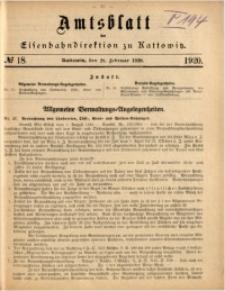 Amtsblatt der Königlichen Eisenbahndirektion zu Kattowitz, 1920, nr18