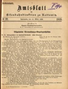 Amtsblatt der Königlichen Eisenbahndirektion zu Kattowitz, 1920, nr22