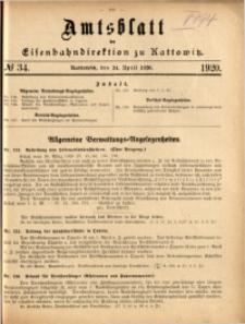 Amtsblatt der Königlichen Eisenbahndirektion zu Kattowitz, 1920, nr34