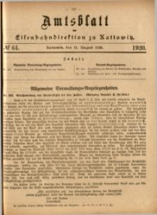 Amtsblatt der Königlichen Eisenbahndirektion zu Kattowitz, 1920, nr64