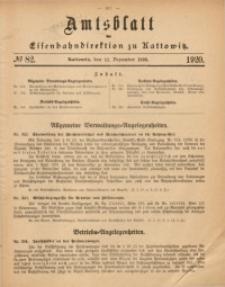 Amtsblatt der Königlichen Eisenbahndirektion zu Kattowitz, 1920, nr82