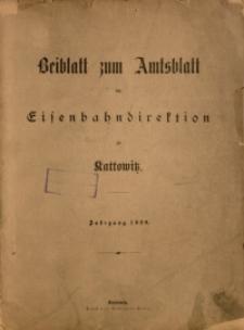 Sach-Register zu dem Beiblatt zum Amtsblatt der Königlischen Eisenbahndirektion zu Kattowitz, Jahrgang 1920