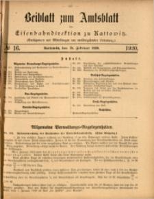 Beiblatt zum Amtsblatt der Königlischen Eisenbahndirektion zu Kattowitz, 1920, nr16