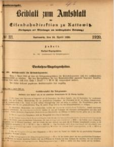 Beiblatt zum Amtsblatt der Königlischen Eisenbahndirektion zu Kattowitz, 1920, nr33