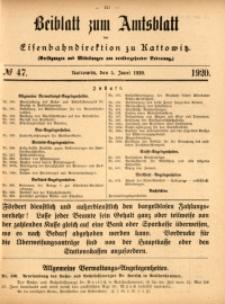 Beiblatt zum Amtsblatt der Königlischen Eisenbahndirektion zu Kattowitz, 1920, nr47