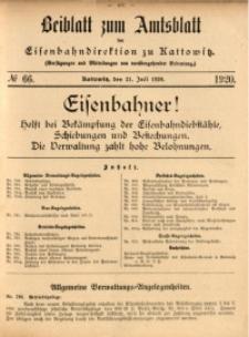 Beiblatt zum Amtsblatt der Königlischen Eisenbahndirektion zu Kattowitz, 1920, nr66