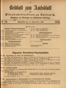 Beiblatt zum Amtsblatt der Königlischen Eisenbahndirektion zu Kattowitz, 1920, nr72