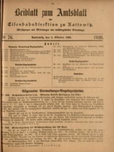 Beiblatt zum Amtsblatt der Königlischen Eisenbahndirektion zu Kattowitz, 1920, nr76