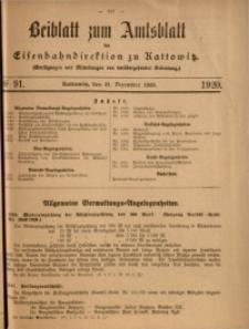 Beiblatt zum Amtsblatt der Königlischen Eisenbahndirektion zu Kattowitz, 1920, nr91