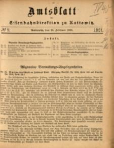Amtsblatt der Königlichen Eisenbahndirektion zu Kattowitz, 1921, nr9