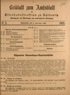 Beiblatt zum Amtsblatt der Königlischen Eisenbahndirektion zu Kattowitz, 1921, nr5