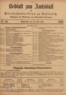 Beiblatt zum Amtsblatt der Königlischen Eisenbahndirektion zu Kattowitz, 1921, nr24