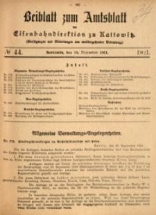 Beiblatt zum Amtsblatt der Königlischen Eisenbahndirektion zu Kattowitz, 1921, nr44