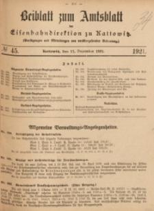 Beiblatt zum Amtsblatt der Königlischen Eisenbahndirektion zu Kattowitz, 1921, nr45