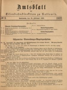 Amtsblatt der Königlichen Eisenbahndirektion zu Kattowitz, 1922, nr9