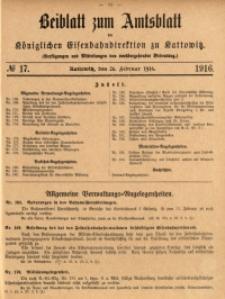 Beiblatt zum Amtsblatt der Königlischen Eisenbahndirektion zu Kattowitz, 1916, nr17
