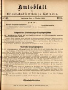 Amtsblatt der Königlichen Eisenbahndirektion zu Kattowitz, 1919, nr59