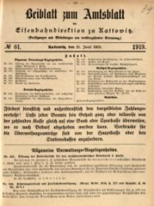 Beiblatt zum Amtsblatt der Königlischen Eisenbahndirektion zu Kattowitz, 1919, nr61
