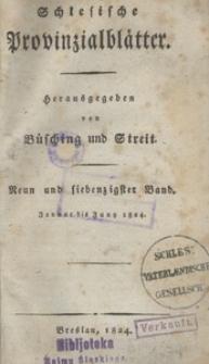 Schlesische Provinzialblätter, 1824, 79. Bd. 1. St.: Januar