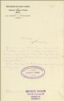 """Ulotka socjalistów żydowskich """"Bund"""" w Genewie z prośbą o przesłanie wydawnictwa do Biblioteki i Archiwum Komitetu Zagranicznego Bundu w Genewie"""