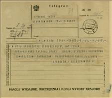 Telegram Szczerkowskiego z Łodzi z życzeniami - Łódź, 02.04.1932 r.
