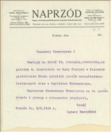 Pismo o zwołaniu w dniu 15.08.1915 r. posiedzenia Klubu Polskich Posłów Socjaldemokratycznych wraz z Komitetem Wykonawczym - Kraków, 09.08.1915 r.
