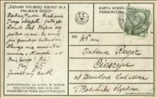 Karta pocztowa z fotografią przedstawiającą demonstrację na rynku w Morawskiej Ostrawie w dniu 30.09.1908 r. - adresowana do Tadeusza Regera dotyczy przesłania skryptu do kalendarza