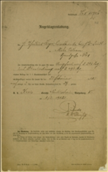 Wezwanie Tadeusza Regera do c.k. Sądu Powiatowego w Nowym Jiczynie na dzień 22.02.1902 r.