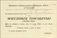 """Zaproszenie na wieczorek towarzyski członków Stowarzyszenia """"Siły"""" w Cieszynie w dniu 14.02.1925 r."""