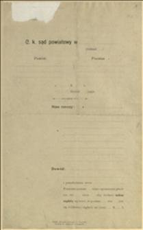 Formularz żądania nakazu zapłaty oraz pismo Sądu Powiatowego w Boguminie