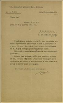 Pismo c.k. Komisariatu Policji w Morawskiej Ostrawie zezwalające na zgromadzenie publiczne w dniu 21.11.1915 r. w Karwinie u Altmanna - Morawska Ostrawa, 19.11.1915 r.