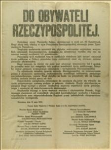Afisz nowego rządu powołanego po przewrocie majowym wzywający do utrzymania pokoju - Warszawa, 16.05.1926 r.