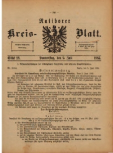 Ratiborer Kreis-Blatt, 1885, Stück 28