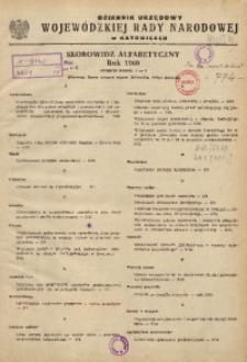 Dziennik Urzędowy Wojewódzkiej Rady Narodowej w Katowicach. Skorowidz alfabetyczny, rok 1960