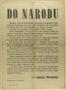 Odezwa Ignacego Mościckiego w związku z wyborem na stanowisko Prezydenta R.P. z dnia 04.06.1926 r.