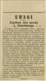 Uwagi. Zaginione akta sprawy p. Studzińskiego
