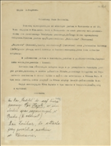 List donoszący o objęciu czeskiego referatu prasowego w Ministerstwie Spraw Zagranicznych w Warszawie