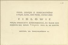 Zawiadomienie o ślubie Zofii z Haeckerów i mjra lek. dra med. Edwarda Eibla. [?] w dniu 05.08.1935 r. w Gdyni
