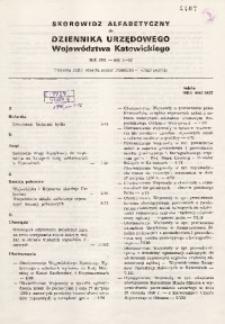Skorowidz alfabetyczny do Dziennika Urzędowego Województwa Katowickiego, rok 1991