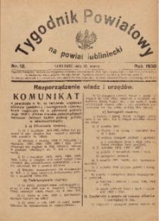 Tygodnik Powiatowy na Powiat Lubliniecki, 1930, nr12