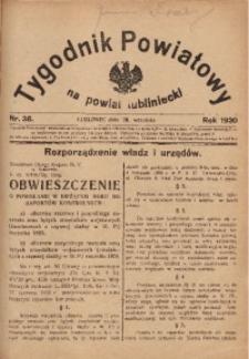 Tygodnik Powiatowy na Powiat Lubliniecki, 1930, nr38