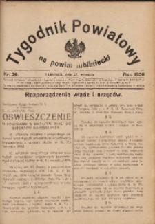 Tygodnik Powiatowy na Powiat Lubliniecki, 1930, nr39