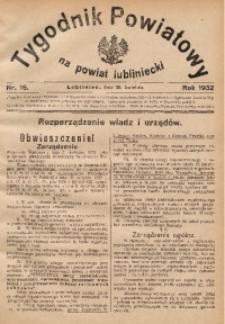 Tygodnik Powiatowy na Powiat Lubliniecki, 1932, nr16