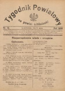 Tygodnik Powiatowy na Powiat Lubliniecki, 1934, nr12
