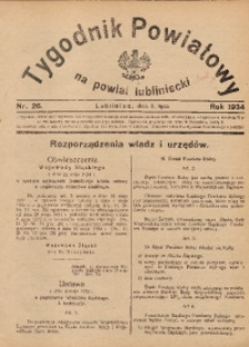 Tygodnik Powiatowy na Powiat Lubliniecki, 1934, nr26
