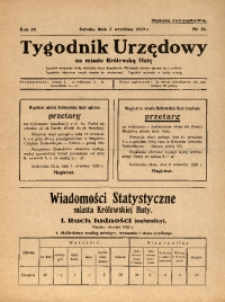 Tygodnik Urzędowy na Miasto Królewską Hutę, 1929, nr36