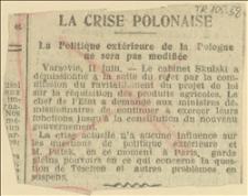 La Crise Polonaise Politique extérieure de la Pologne