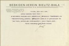 """Pismo """"Beskiden-Verein Bielitz-Biala"""" o przesłaniu """"Jahrbücher das Beskidenvereines"""" - Bielsko, 24.09.1924 r."""
